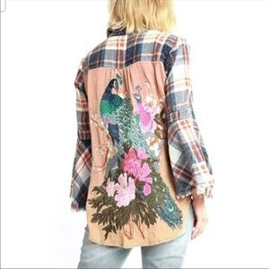 Aratta Silent Journey Embroidered Peacock Top